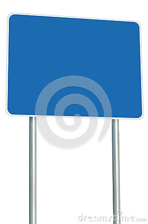 Free Blank Blue Road Sign Isolated Large Perspective Copy Space White Frame Roadside Signpost Signboard Pole Post Empty Traffic Signage Royalty Free Stock Images - 61200909