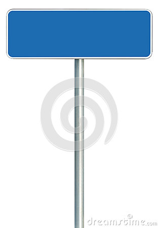 Blank Blue Road Sign Isolated, Large White Frame Framed Roadside Signboard