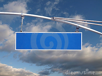Blank Blue Street Sign
