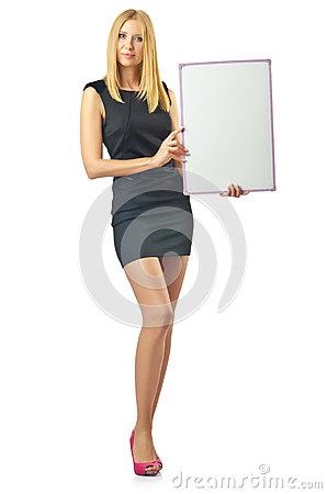 Blank board and  woman