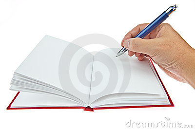 Blank book with pen and hand