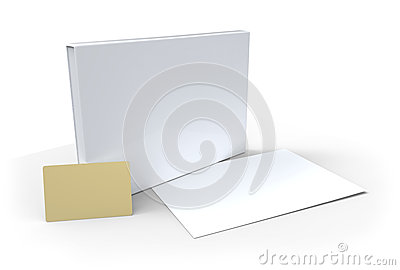 Blank box, card and sheet of paper
