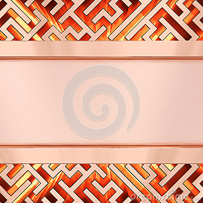 Blank bronze plate on maze background with flame