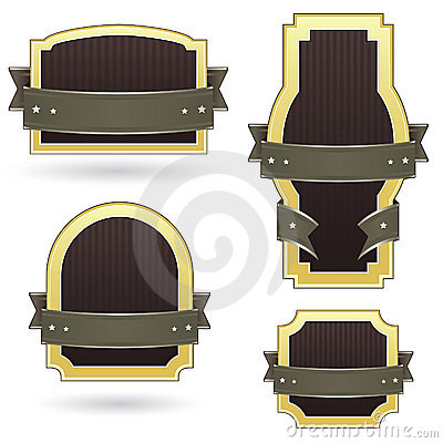 Blank brown and gold product labels