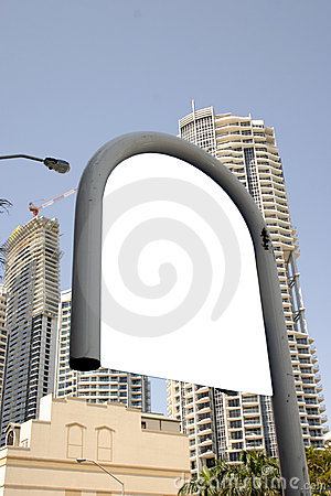 Blank bus sign in city