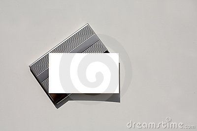 Blank business card on holder with clipping path.
