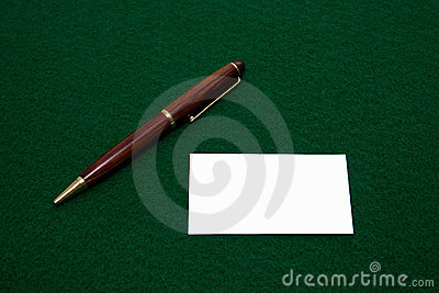 Blank Business Card and Pen