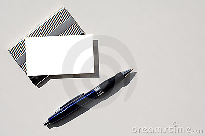 Blank business card and pen with clipping path.