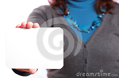 Blank of business card in woman hand