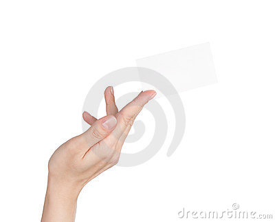 Blank business card in woman s hand