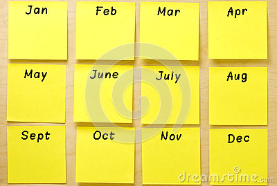 Blank Calendar Yellow Post-it Collection