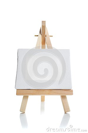 Blank canvas on easel