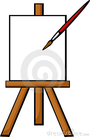 blank canvas in easel vector illustration