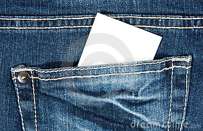 Blank card in blue jeans pocket