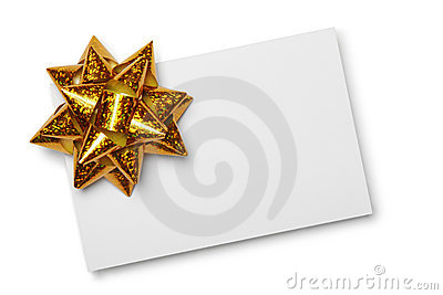 Blank card with golden bow