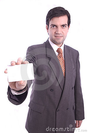 Blank card holded by a businessman