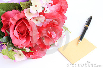 Blank card with pen and rose