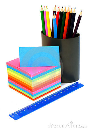 blank card, pencil in cup and ruler isolated