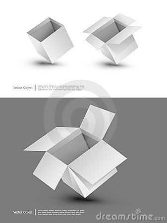 Blank cardboard boxes on a white background