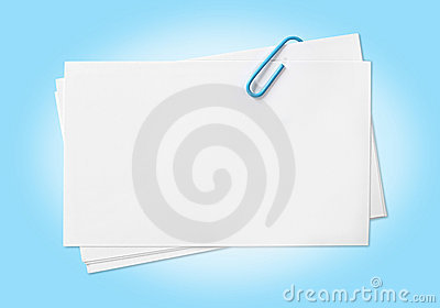 Blank Cards with Blue Paperclip