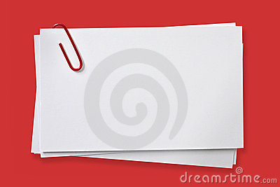Blank Cards with Red Paper Clip
