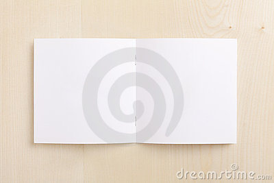 Blank CD booklet on wood