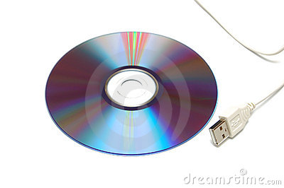 Blank CD-DVD disk and white USB cable