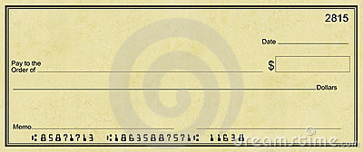 Blank Check with Light Parchment Background