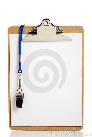 Free Blank Clipboard And Coaches Whistle Royalty Free Stock Photography - 10640897