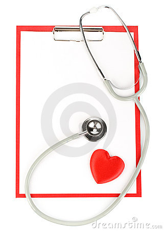 Blank clipboard with stethoscope