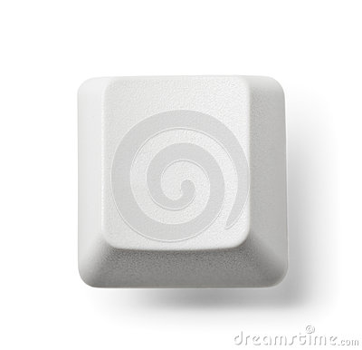 Blank computer key on white