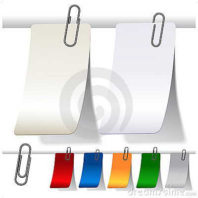 Free Blank Curled Labels With Paperclips Royalty Free Stock Image - 22418256