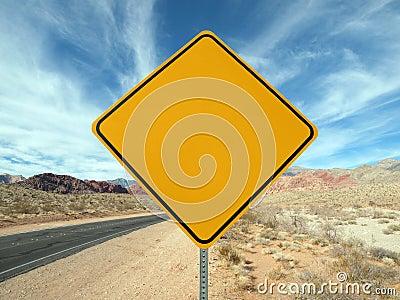 Blank desert highway sign.
