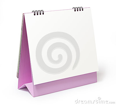 Blank desktop calendar on white background