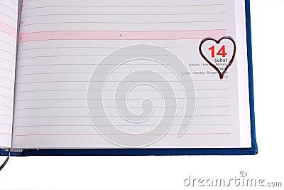 Blank diary page marked 14 February - Horizontal
