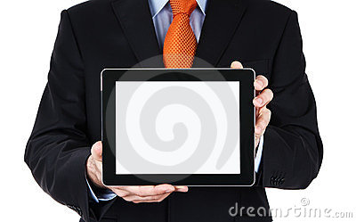 Blank digital tablet in human hands
