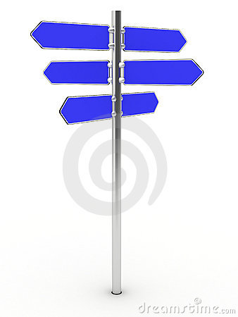 Blank direction signs on a metal column
