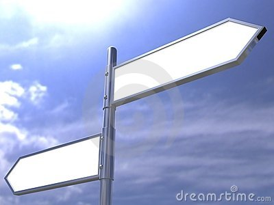 Blank Directional Road Sign Post