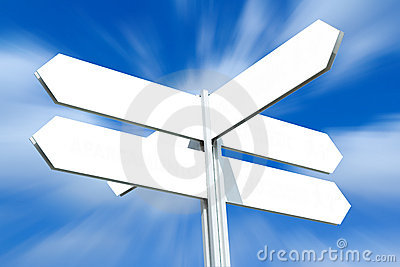 Blank Directional Sign Post