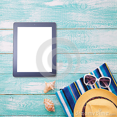 Free Blank Empty Tablet Computer On Beach. Trendy Summer Accessories On Wooden Background Pool. Flip-flops On Beach. Tropical Flower Or Stock Images - 70203764