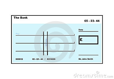 Blank English Cheque illustration with copy space, isolated on white ...