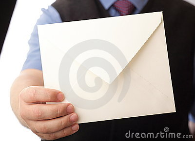 Blank envelop in a hand