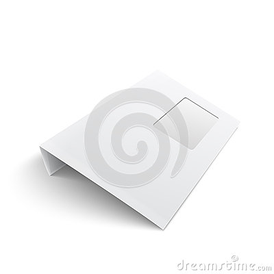 Blank envelope with window on white background.