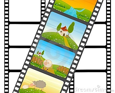 Blank film colorful strip with sheep