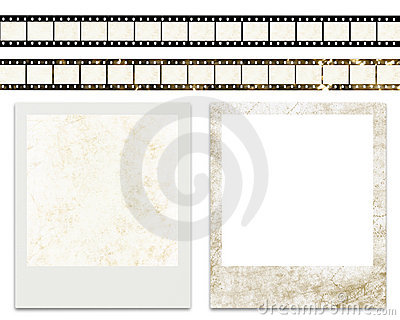 Blank film stripes and blank instant photo frames