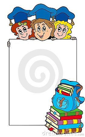Blank frame with graduating kids
