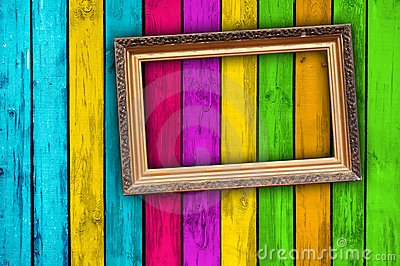 Blank Frame on Multicolored Wood Background
