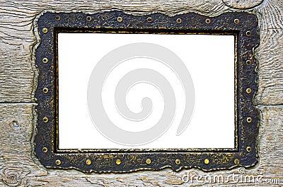 Blank frame on obsolete wood
