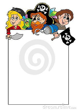 Free Blank Frame With Cartoon Pirates Royalty Free Stock Images - 14587759