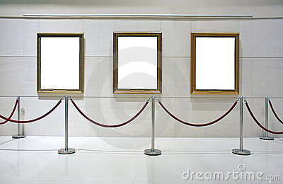 Blank framed canvas in an exhibition